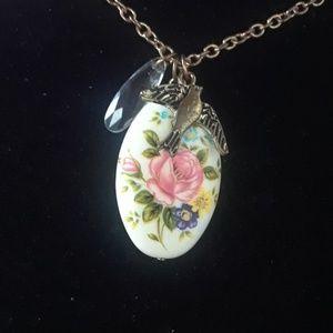 Rose, bird necklace. J12-1435